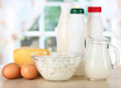 Dairy products and eggs on table in kitchen