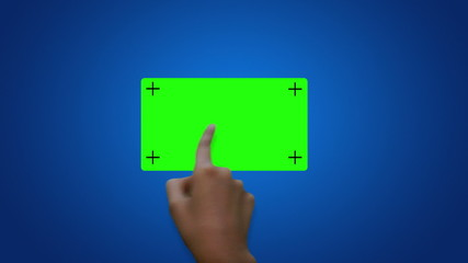 A person using a touch screen sliding green screen buttons