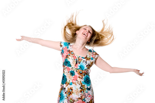 Portrait of cute happy young lady spreading her arms