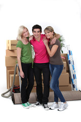 Three housemates moving