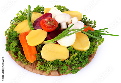 Many peeled vegetables  isolated on white