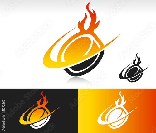 Fire Swoosh Hockey Puck Icon