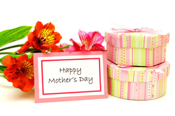 Happy Mother's Day tag with flowers and gift boxes