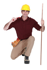 Cheerful plumber