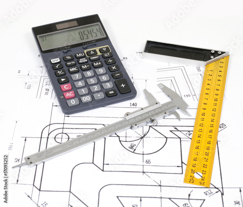 calculate with calculator, vernier caliper and miter on a plan