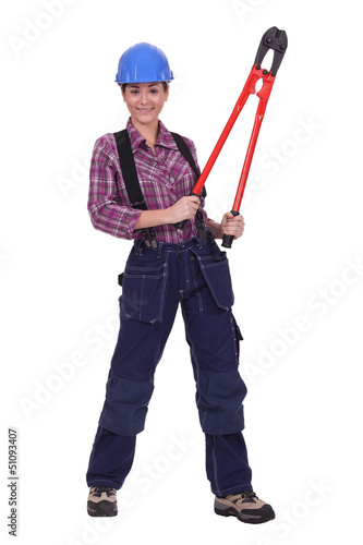 woman with pliers