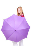 portrait of a young woman with big umbrella
