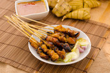 satay , traditional roasted kebab meat skewers