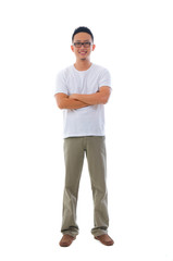 china man in casual wear with white background, full body