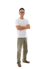 Chinese man in casual wear with white background