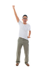 chinese male celebrating in success standing with funny expressi