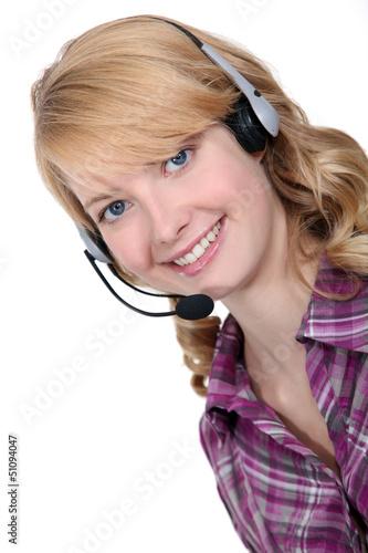 Blond call-center worker
