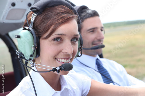 Female pilot of a light aircraft