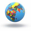 Political world globe on white background. 3d