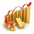 Business concept. Grow in the gold price.