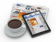 Morning news. Tablet pc, newspaper and cup of coffee