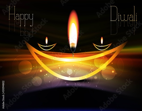 happy diwali shiny beautiful bright celebration vector