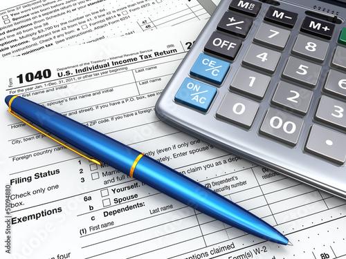 Tax Return 1040, calculator and peò. 3d