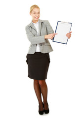 A business woman holding papers , isolated on white background
