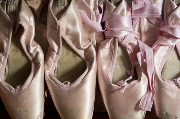 Line of pointe shoes