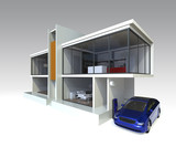 Modern house with electric car, EV charger