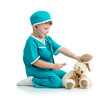 boy kid playing doctor with toy