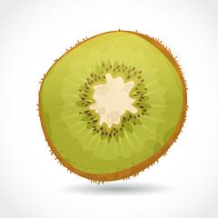 Fresh ripe piece of kiwi isolated