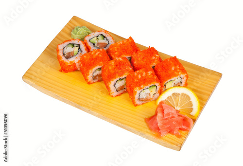 Sushi rolls California isolated on white