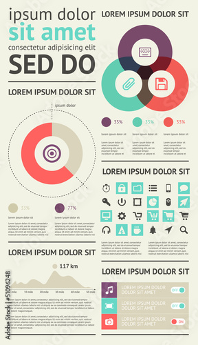 Elements of Infographics with buttons and menus