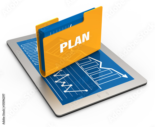 Tablet screen with yellow folder
