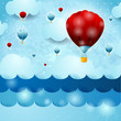 Fantasy seascape with balloons