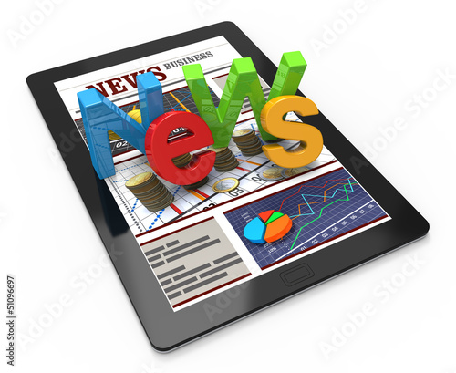 Business news on tablet pc - 51096697