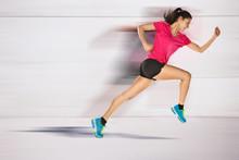 Sport Frau ab läuft. Beschleunigen Wirkung.