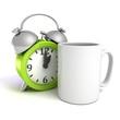 break for coffee concept with white mug and retro clock