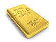 3d rendering of a gold bar on white
