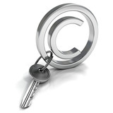 Copyright Concept Metallic Symbol with Safety Key