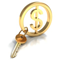 golden yale key with dollar sign