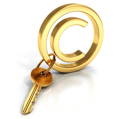 Copyright protect concept golden sign key