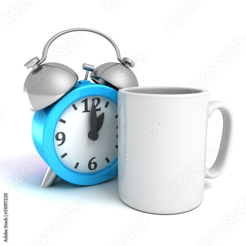 blue alarm clock with white coffee mug