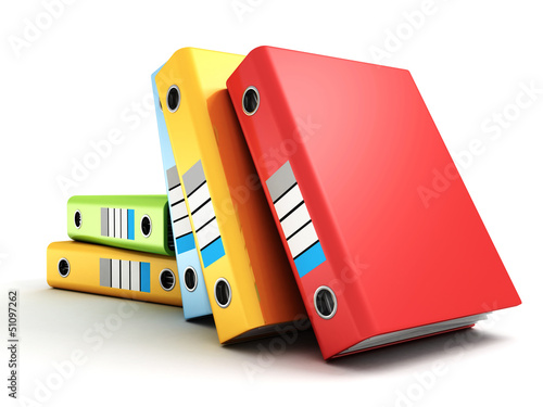 colorful office folders or ring binders on white
