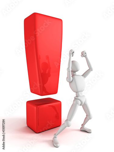 triumphant 3d person with red exclamation mark