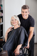 Happy Female Client And Hairdresser