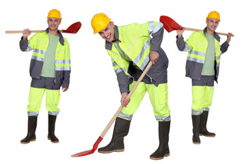Multiple shot of man with shovel