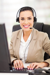 call centre employee speaking over the headset