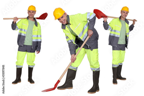 Multiple shot of man with shovel