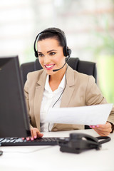 telemarketer working in office