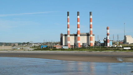 Power plant by the sea. Two shots. Saint John, NB.