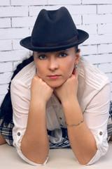 Large portrait woman in a hat