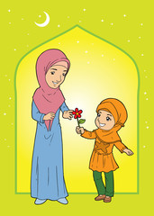 Muslim little girl giving flower to muslim woman