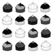 set of cup cakes sketch in black and white